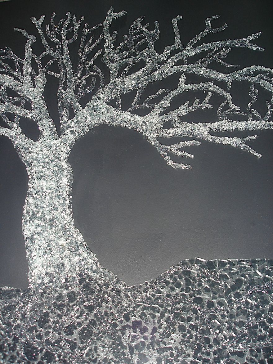 This Tree Is Made With Safety Glass Every Piece Of Glass Was Individually Glued ....